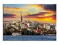 リビングルームのための壁掛け用ポスターの絵の建築風景を描くイスタンブールトルコの海の建物キャンバスプリント、ホームアート装飾油、フレームレス,40×50cm