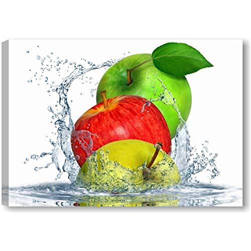 Quadri L&C ITALIA Apples Fresh - Quadro Cucina Moderno con Frutta 70 x 50 Stampa su Tela Canvas da Parete per Arredamento