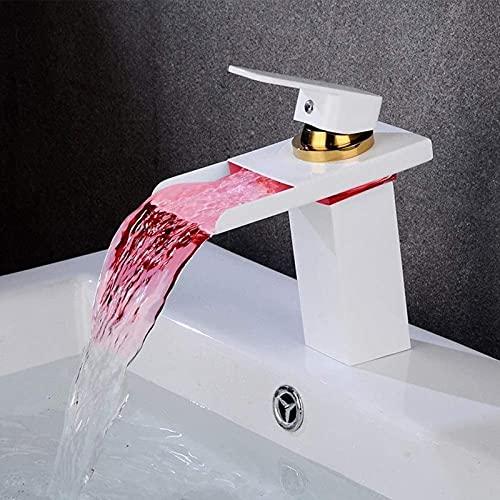 HLSH Grifo LED Cascada Grifo Control de Temperatura del Grifo Dibujo Blanco Latón Pintura en Aerosol Grifo de Lavabo Cuadrado Creativo Decoloración Grifo...