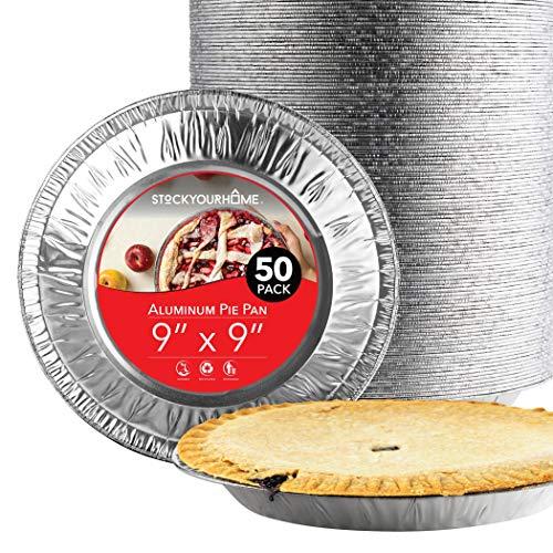 Stock Your Home 22,9 cm große Kuchenform aus Aluminium (50 Stück) – Einweg- und recycelbare Folien-Kuchenform für Bäckereien, Cafés, Restaurants langlebige Folienformen Kuchen, Obsttorten, Quiche