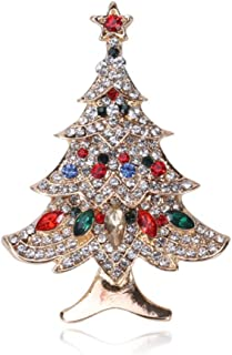 N/W Christmas Tree Brooch Pin for Women Exquisite Brooches with Rhinestone