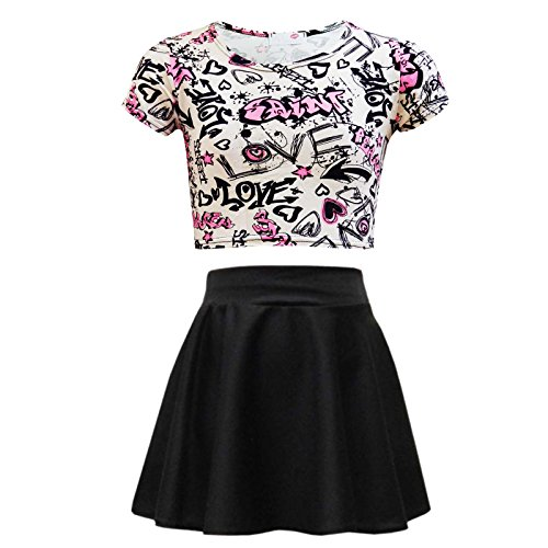 A2Z 4 Kids® Kinder Mädchen Love Graffiti Scribble Aufdruck Bauchfreies Top & Schwarz Skater Rock Set Alter 7 8 9 10 11 12 13 Jahre (11-12 Jahre (146-152), Crop Top & Rock Set)