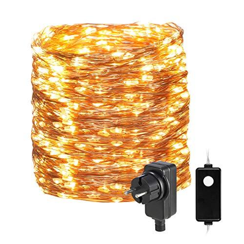 30M 300 LED Lichterkette Außen/Innen,OxyLED Lichterkette Draht aus Kupferdraht,8 Modi IP65 Wasserdicht mit Lichterkette Steckdose Lichterkette...