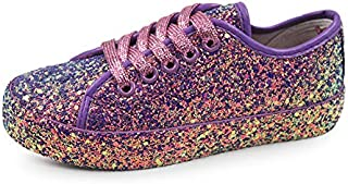 Women's Sneakers Casual Canvas Shoes, Low Top Lace up Cap Toe Flats (Order One Size Up) (4, Purple Glitter)