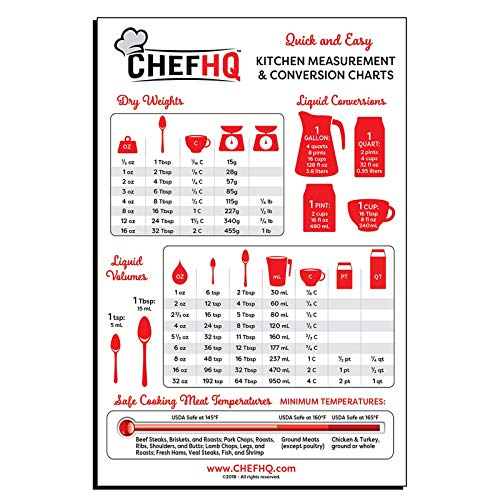 CHEFHQ Kitchen Measuring Conversion Chart Magnet - Magnetic Charts for Baking and Cooking - Tablespoon Measurements, Metric Measurement Conversions, Liquid Measure Equivalents, Meat Temperature Guide