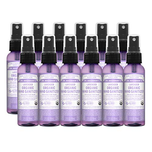 Dr. Bronner's - Organic Hand Sanitizer Spray (Lavender, 2 ounce, 12-Pack) - Simple and Effective Formula, No Harsh Chemicals, Moisturizes and Cleans Hands