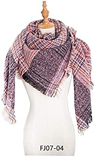 WUNONG-AU Thick Keep Warm Shawl Autumn Winter Fine Grid Large Scarf Ladies Blanket Type Pink Scarf (Color : Pink, Size : 135cm)