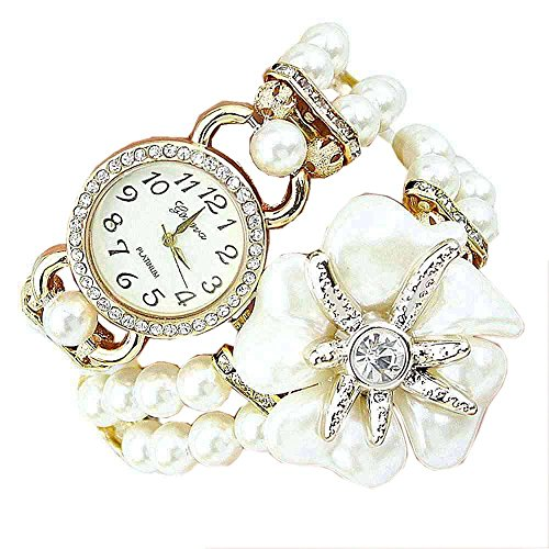 SAMGU Frauen Mode Strass Faux-Perlerhinestone-Uhren Quarz Analog Armbanduhr Wrist Watches Bettelarmband Uhr Farbe Weiß