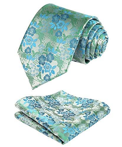HISDERN Men's Floral Tie Handkerchief Jacquard Woven Classic Men's Necktie & Pocket Square Set Aqua/Green