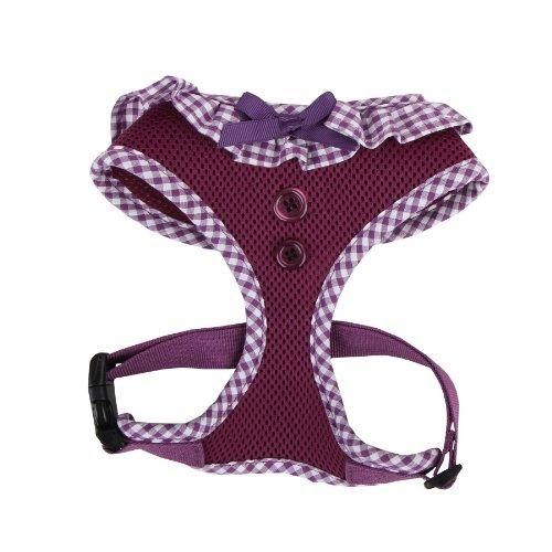 Puppia Vivien Hundegeschirr für kleine Hunde - verstellbar und sehr weich - Karierte Ränder - Auch als Welpengeschirr verwendbar -Antizuggeschirr für Hunde, Violett, XS