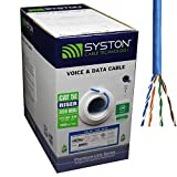 Cat5e Bulk Cable 1000ft Pure Copper, Outdoor/Indoor Heat Resistant, Solid 350Mhz, 24AWG, 4 Pair, UTP, Riser Rated CMR, Blue