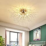 Lámpara LED de techo para salón, regulable, cristal, lámpara de techo...