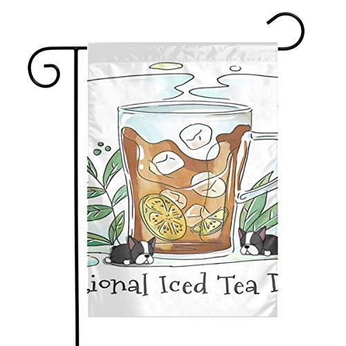 Not Applicable Wettbewerbsflagge, süßes Eistee-Glas mit Limette und Blättern Gartenflaggen Home Autumn Backyard Flag 32x45.7cm