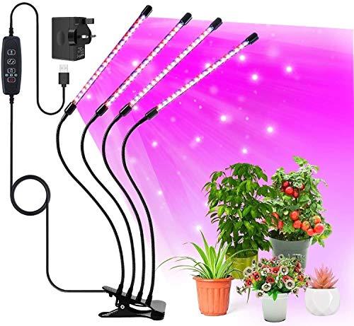 HSY SHOP Luz de Cultivo para Plantas de Interior, 120 LED de Espectro Completo, 10 Niveles de atenuación y 4 Cabezas, lámpara de Cultivo con Temporizador, Cuello de Cisne Ajustable de 360 °