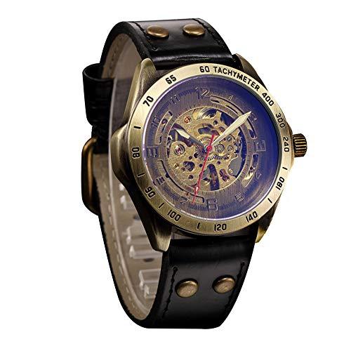 Reloj mecánico automático para Hombre Venta de Relojes Retro para Hombre Reloj de Cuarzo Correa de Cuero Casual Reloj de Pulsera de Cuarzo analógico Relojes Deportivos Steampunk Huecos FELZ