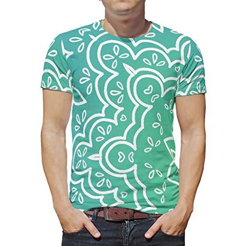 O3XEQ-8 Männlich Bohimia T Shirt Teenie Shirt, Grüne Mandela mit Farbverlauf Personalisiert - Mandela Art Muster gedruckt Hip Hop Kurzarmhemd White XL