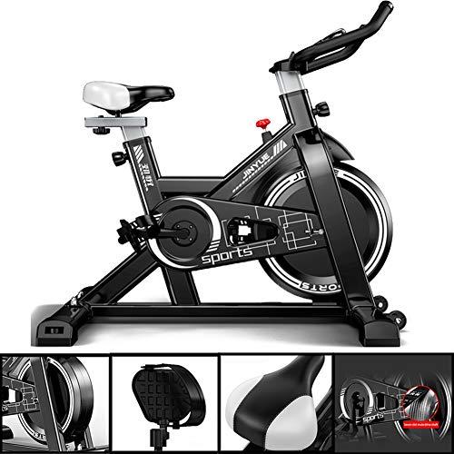 Professionele indoor cycling hometrainer, rechtop stille riemaandrijving Spinning fiets met verstelbaar stuur en stoel, thuis aërobe training fitnessapparatuur,Black,44.49in*42.91in
