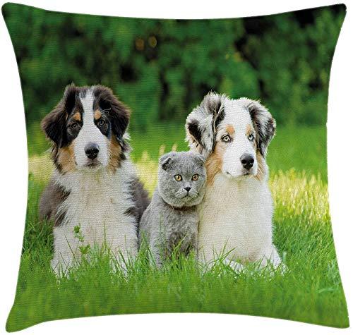 Keyboard cover Butlerame - Funda de cojín para perro, diseño de familia de cachorros en el jardín australiano y una escena de gato, 45 x 45 cm, color crema