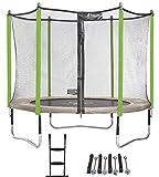 Kangui - Trampoline de Jardin 305 cm + Filet de sécurité + échelle + kit d'ancrage JUMPI Taupe/Vert 300