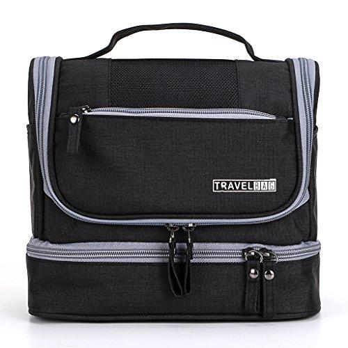 IGNPION 2 Layers Men's Toilet Bags Travel Wash Toiletry Bag Hanging Makeup Organiser Cosmetic Bathroom Shaving Bag - Dry & Wet Separation (Black)