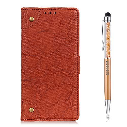 Grandoin Coque pour Xiaomi Mi Mix 3 5G, [Boucle en Cuivre] Bookstyle Flip Cover Étui de Protection Housse en PU Cuir avec TPU Silicone Souple [Fente de Carte] [Fermeture Magnétique] (Marron)
