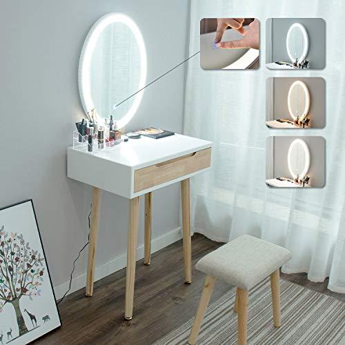 eklipt - Tocador de Maquillaje, Espejo de Mesa de cosméticos Vanity tocador, Mueble de Maquillaje de Dormitorio, con Taburete con Espejo LED, Color de Madera, 1 cajón