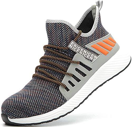 [tqgold] 安全靴 あんぜん靴 作業靴 メンズ レディース ハイカット スニーカー 軽量 通気性 鋼先芯 (JIS H級相当)KEVLARミッドソール 耐摩耗 耐滑ソール クッション性 オシャレ (オレンジ 24.5cm)