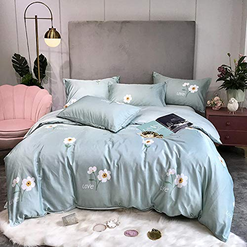 duvet cover double cotton 100%,Ice silk four-piece silk slippery sheet duvet cover summer washed silk three-piece bedding-U_2.0m bed (4 pieces)