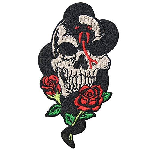 ZEGIN Patch ecusson brodé tête de Mort thermocollant emblème Snake Rose and Skull