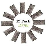 rongrong 12 Packs Natural Air Purifying Bags,900g Mini Bamboo Charcoal Bags,Shoe Deodorizer and Odor...