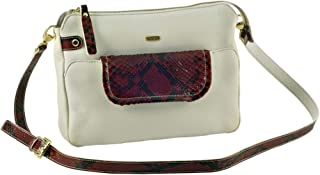 Kaizer KAT1855RED Leather Shoulder Bag for Women - White and Red