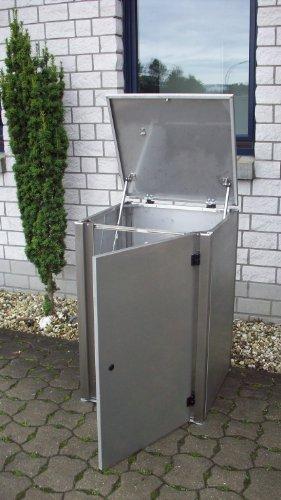 Mülltonnenbox Edelstahl, Modell Eleganza G, 120 Liter, in Anthrazitgrau RAL 7016 (Pulverbeschichtet) - 4
