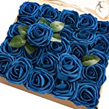 Ling's moment Artificial Rose Flowers 50pcs Royal Blue Foam Roses w/Stem for DIY Wedding Bouquets Centerpieces Bridal Shower Party Home Decorations (Regular 3')