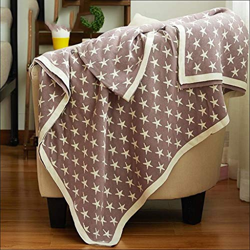 Eastery Worth Having bruin sterrenpatroon katoen gebreide handdoek quilt Single eenvoudige stijl tweepersoonsbed verdikking kantoor nap nap (150 * 200 cm)
