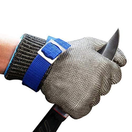 Schnittfeste Handschuhe-XHZ 1 Anti-Cutting Handschuh Zimmermann Reparatur Schneider Metall Schlacht Anti-Cutting Grade 5 Stahl Draht Eisen Handschuh Silber (Size : Medium)
