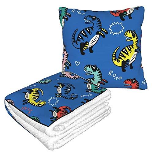 Manta suave 2 en 1 para almohada, diseño de dinosaurios de dibujos animados (2) manta de forro polar para primavera sala de estar, almohada para sofá o oficina, para hombres y niñas