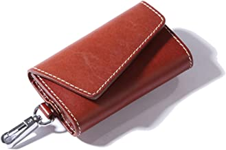 GossipBoy Vintage Genuine Leather Key Wallet Holder Key Chain Cover Case Pouch with 6 Clips and Card Change Pocket (CL)