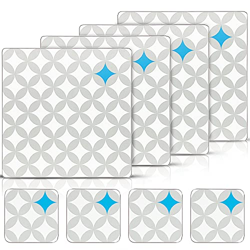 Table Mats and Coasters set of 4 (8 pcs) - Modern Cork-Backed Placemats and Coaster sets 4. Grey, White and Blue Table Mats in a Square Presentation Box for Everyday Dining and Special Occasions.