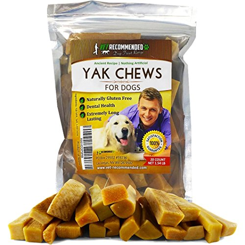 Vet Recommended Yak Chew for Small Dogs Made from Himalayan Yak Milk (20 Count / 1.54LB). The 100% Natural Healthy Dog Chew - Extreme Long Lasting Cheese Chew