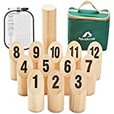 ApudArmis Wooden Tossing Game Set, Numbered Block Toss Games Set with Scoreboard & Carrying Case - Outdoor Lawn Backyard Beach Game for Kids Adults Family