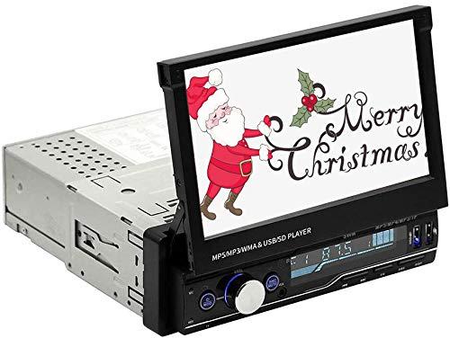 Car Stereo Player Bluetooth 4.0, 7 Pulgadas 2 DIN Car Radio Multimedia con Pantalla táctil retráctil HD, FM/AM/BT/TF/USB/MP5/AUX, Control del Volante, Conectores de cámara inversa, Compatible con RDS