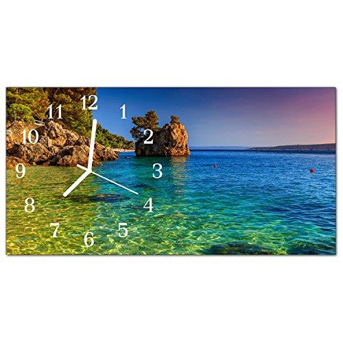 DekoGlas Glasuhr \'Meer Mehrfarbig\' Uhr aus Echtglas, eckig große Motiv Wanduhr 60x30 cm, lautlos für Wohnzimmer & Küche