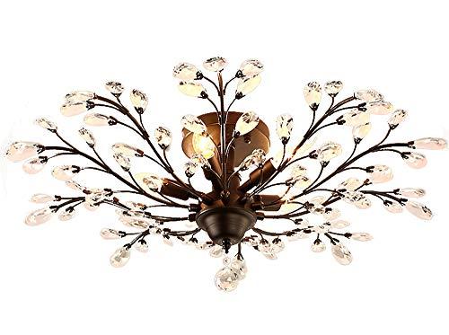Moderne bloemen plafondlamp, stijlvolle, sfeervolle tak, plafondlampen, frame van ijzer, glas, decoratief, voor slaapkamer, woonkamer, restaurant 4 vlammen E14