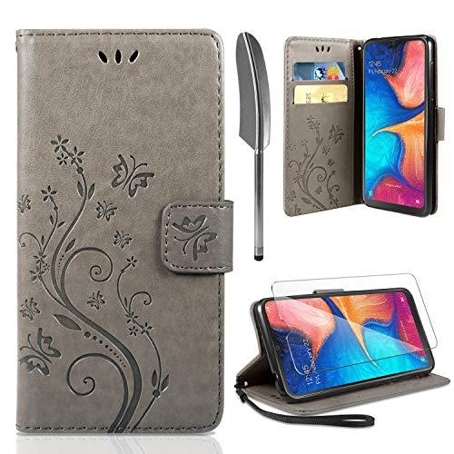 ivencase Lederhülle Samsung Galaxy A20e Flip Hülle+ HD Schutzfolie, Galaxy A20e Wallet Hülle Handyhülle PU Leder Tasche Hülle Kartensteckplätzen Schutzhülle für Samsung Galaxy A20e Grau