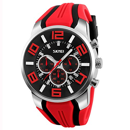 Relojes Deportivo Multifuncional Relojes Hombre Cronógrafo Relojes Calendario Silicona, Rojo