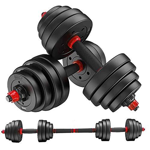 MOJEER ダンベル 可変式【最新進化版・3in1】10kg 20kg 30kg 40kg 2個セット バーベルにもなる ダンベル 無臭素材 静音XK (15kg×2個セット/ 赤)