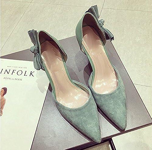 AJUNR Femmes Loisirs été Mode Une AHommesde AHommesde AHommesde avec 7cm des Talons Hauts La en Daim Tous-Match Chaussures Bow des Chaussures l'eau Verte 5f4