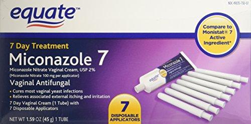 Compare to Monistat 7 Active Ingredient. - Equate - Miconazole 7 Day Treatment, Vaginal Antifungal Cream, 1.59 oz