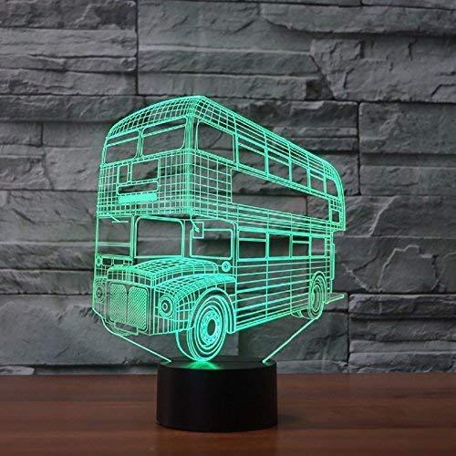 Lámpara LED 3D con forma de autobús, lámpara de noche, además de lámpara de mesa, 7 colores, cambia de color, interruptor táctil, para escritorio, decoración, como regalo de cumpleaños o Navidad