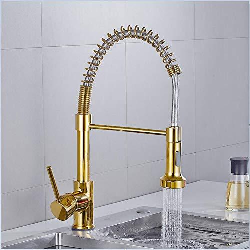 YHSGY Waschtischarmaturen Gold Küchenarmaturen Schwarz Messing Wasserhähne Für Küchenspüle Einhebel Herausziehen Feder Auslaufmischer Wasserhahn Kran Mit Heißem Kaltem Wasser
